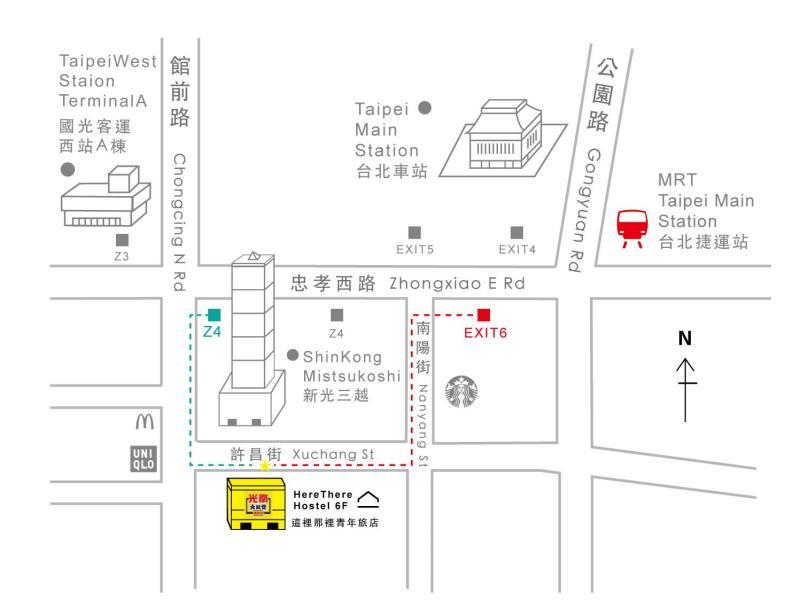 Here There Hostel Taipei Map